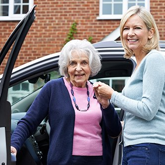 senior woman getting transportation to appointment